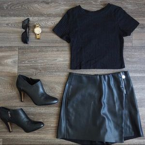 Zara Faux Leather Bermuda Shorts
